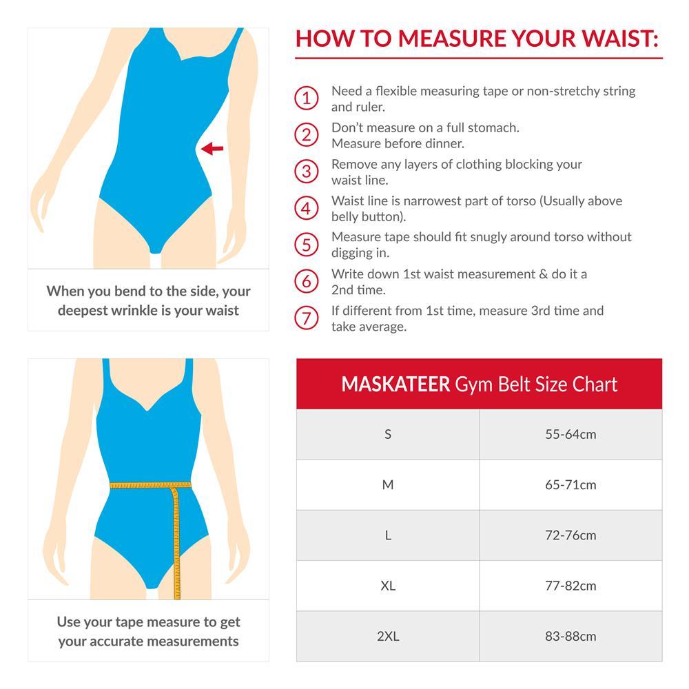 Womens Gym Belt Size Chart Exercise Slimming Toning Ab