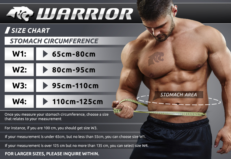 Size Chart MASKATEER Warrior Mens Sports Belt